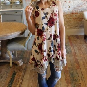 Tops - *Worn once* Taupe sleeveless floral lace tunic